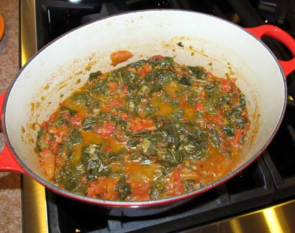 stewed greens and tomatoes
