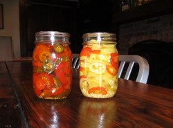 pickled jalapenos and hungarian hot wax peppers